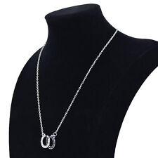 Rhinestone Necklace Alloy Chain Women Lady Double Horse Hoof Horseshoe Pendant