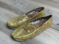 Toms Classic Gold Glitter Sequin Canvas Slip On Flats Shoes Youth Size 2  CLEAN