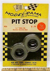 "1965 K&B Aurora 1:24 1:25 Slot Car Pit Stop Parts 1 1/8"" GERMAN SLICK TIRES #406"