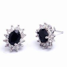 Birthday Gift Black Oval Cubic Zircon Women Lady Girl Stud Earrings Ear Jewelry
