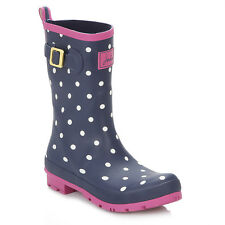 Joules Womens Wellies PullOn Casual Navy Spot Mid Calf Wellington Boots Shoes