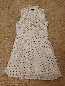 Donna Karan NY Black Label Vtg Look Collar A-Line White Polka Dot Dress Size 12