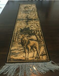"""VINTAGE VELVET WALL HANGING / DEER STAG BUCK / APPROX 46.5"""" X 12"""" / WITH FRINGE"""