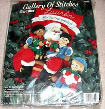 "Bucilla Jeweled Felt ""Joy to the World"" Santa Children Christmas Stocking Kit"
