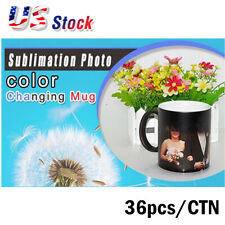 Usa 36pcslot 11oz Blank Sublimation Color Changing Mugs Black Glossy Magic Cup