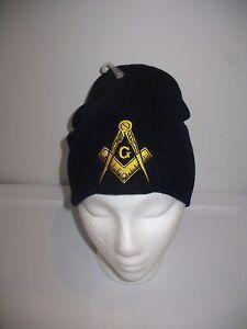 "8"" Navy Blue Mason Freemason Masonic Gold Symbol Snow Cap Beanie Skull Cap Hat"