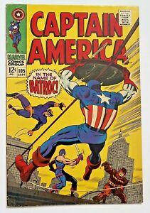 CAPTAIN AMERICA #105 NOT MINT 1968 Marvel Comics! Jack Kirby! Batroc! Fine-
