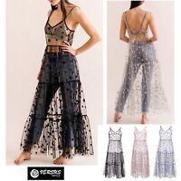 Vestito Lungo Donna Stelle Trasparente Stile Coachella Woman Maxi Dress 110423