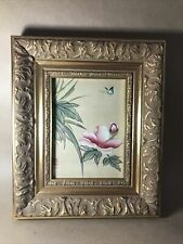Vintage Oriental Silk Painting Of Butterfly And Flowers In Ornate Gold Frame