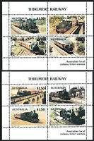 Australia 1985 Thirlmere Railway set (2) local stamp miniature sheets MNH