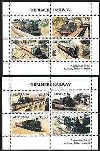 Australia 1985 Thirlmere Railway set (2) local stamp miniature sheets MNH