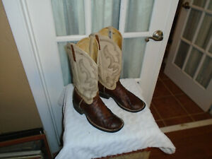 ANDERSON BEAN MENS BOOTS WESTERN EMBROIDERED BONE & BROWN QUILL OSTRICH SZ 9.5 E