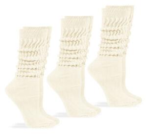 Jefferies Socks Womens Slouch Cotton Knit Scrunch Socks 3 Pair Pack