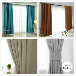 100% Light Blockout Curtains Eyelet Pinch Pleated Room Curtain Drape Grey Tan