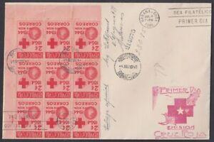 1946-FDC-43 SPAIN ANT. 1946. FDC RED CROSS CRUZ ROJA REG COVER BLOCK 9.