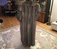 Authentic Genuine Silver Fox Custom Made Fur Coat Size M/L