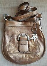 B. MARKOWSKY Metallic Bronze Pebble Leather Crossbody Shoulder Bag