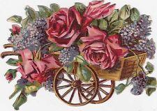 Glanzbild Oblate Blumen Rosen Wagen Schubkarre Schmuck