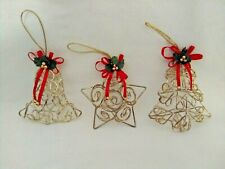 Lot of 3 Vintage Metal Wire Gold Tone Christmas Ornaments Star, Bell, Tree
