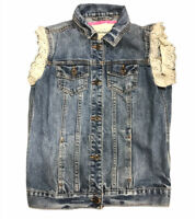 Abercrombie Kids Denim Sleeveless Vest Jacket Girls Size XL Lace Sleeves