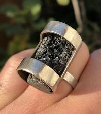 Vintage Mid Century Modernist Cubism Sterling Silver & Artisan Geode Rock Ring