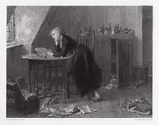 """Intriguing WILLIAM MORRIS 1800s Engraving """"Chatterton's Half-Holiday"""" SIGNED COA"""