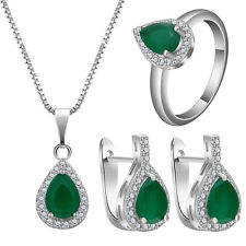 Fashion Women Natural Emerald 925 Silver Pendant+Earring+ Ring Jewelry Set New