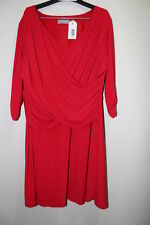 NEW New York Collection b-slim RED/ 2X / 3/4 Sleeve Side Ruched Jersey Dress