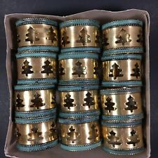 12 Gold & Turquoise Christmas Tree Napkin Rings Holders Oval Archana Crafts