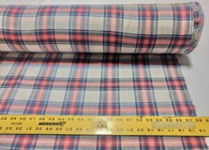 """Cotton Lawn Blue Tan Red Engineered Plaid Yarn Dyed 58"""" Wide Fabric By the Yard"""