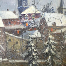 Beautiful Painting Winter Village German Artist Max Oehler (1881 - 1943) Rare