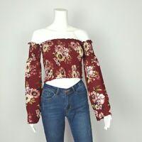 Women's off Shoulder Top  Flower Print Long  Bell Sleeve Crop Top