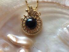 Promotion 11-12MM natural SouthSea genuine black pearl pendant FF0015