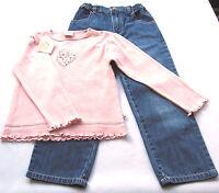 Jeans Hose Shirt Gr.98 /104 Fixoni NEU 100% Baumwolle blau rosa Set kinder ssv