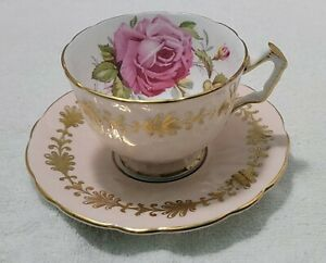 AYNSLEY PINK CABBAGE ROSE CUP SAUCER