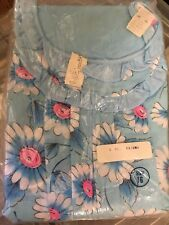 Vintage Gimbels 3 Piece Ladies Pajama Set June 1972 Size 16 Blue Floral Nip