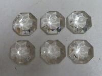 6 PAMPILLES OCTOGONES avec ATTACHES t:1.20cm pour lustre -04/19