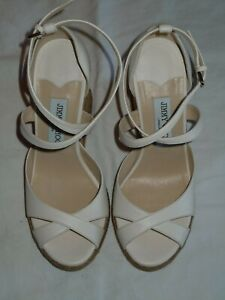 "JIMMY CHOO ""ALANAH"" LEATHER ESPADRILLE WEDGE SANDAL IN CHALK NWOB SIZE 39(8.5)"