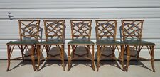 5 Chairs Chinese Chippendale Chic Hollywood Regency Rattan Armchair Seating Boho