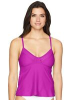 Coastal Blue Women's Swimwear Laser Cut Tankini Top, Punchy Purple, Large