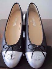 NIB CHANEL Black Leather Silver Toe  Ballerinas Flat Shoes SZ 9 EUR 40 Italy