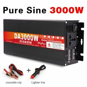 Car Power Inverter Converter With LED Display Kits Pure Sine Wave 2200W DC Tools
