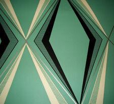 Amazing vintage mid century modern Eames era chevron turquoise jadite wallpaper!