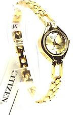 New Citizen Lady  Gold-tone 10 Genuine-Crystals, Champagne-Dial Dress Watch
