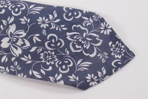 Belvest Neck Tie NWT Blue with White Floral 100% Linen
