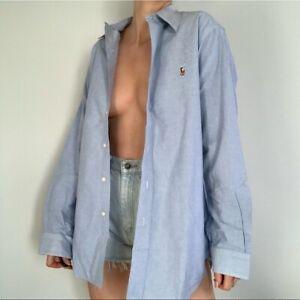 Ralph Lauren Cotton Poplin Chambray Button Down Collared Boyfriend Shirt