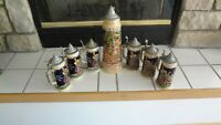 LOT OF 7 VINTAGE GERZ STEINS WITH PEWTER LIDS EXCELLENT CONDITION FOR AGE