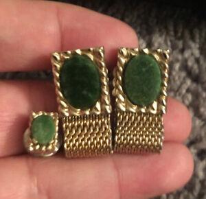 Vintage Swank Green Agate Gold Mesh Wrap Around Cufflinks + Tie Tac S Pentagon