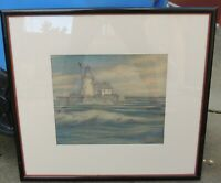 Antique Lighthouse Drawing Pencil Colored Pencils Signed 1930