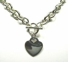 "Heart Charm Tag Toggle Solid Sterling Silver Link Necklace 17"" (85 grams)"